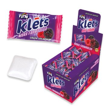 klets Chicle sin azúcar - sabor MORA FRAMBUESA - 200 unidades