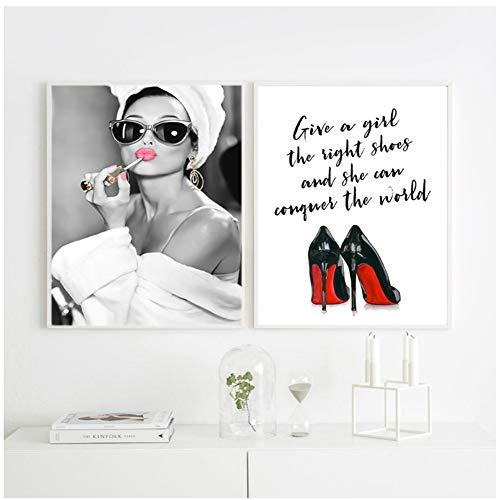 Clásico Audrey Hepburn Potrait Maquillaje Carteles modernos Impresiones Lienzo Pintura Arte de la pared Tacones altos Imagen para el dormitorio Decoración del hogar -50x70cm Sin marco