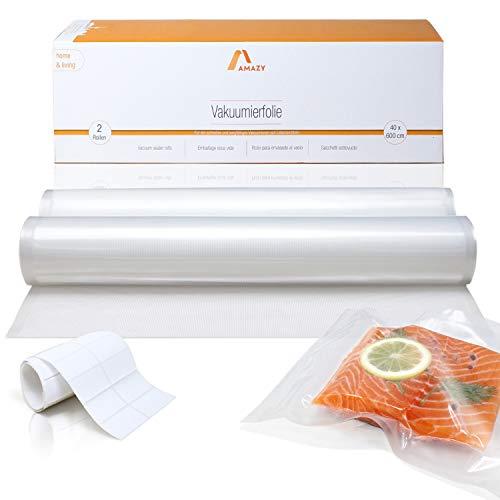 Amazy Vakuumierfolie (2 Rollen | 40 x 600 cm) inkl. Etiketten – 2 individuell zuschneidbare Folienrollen für schnelles Vakuumieren von Lebensmitteln, für alle gängigen (Balken-) Vakuumierer geeignet