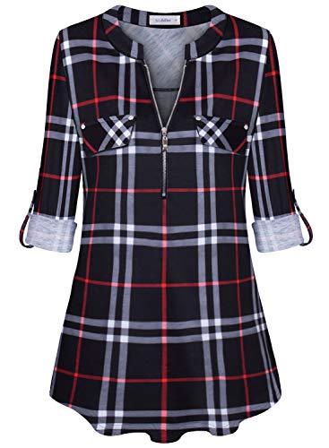 Siddhe Damen Einfarbig V-Ausschnitt Bluse Reißverschluss T-Shirt Oberteile Elegant 3/4 Ärmel Casual Longshirt, Schwarzes Plaid L