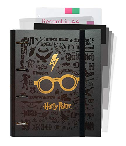 Erik® - Raccoglitore ad anelli A4 Harry Potter Glasses con chiusura elastica. Include un...