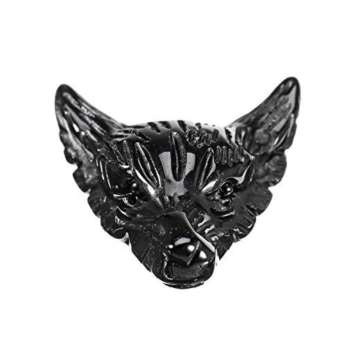 WZhen Collar con colgante de cabeza de lobo de obsidiana negra natural para regalo de cristal de...