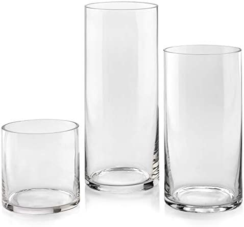 Set of 3 Glass Cylinder Vases 5 8 10 Inch Tall Multi use Pillar Candle Floating Candles Holders product image