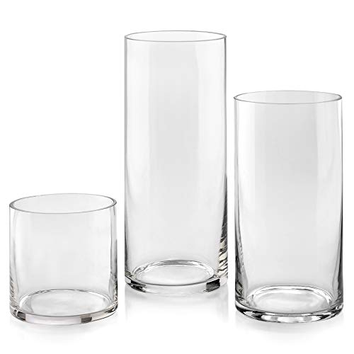 Set of 3 Glass Cylinder Vases 5, 8, 10 Inch Tall – Multi-use: Pillar Candle, Floating Candles Holders or Flower Vase – Perfect as a Wedding Centerpieces.