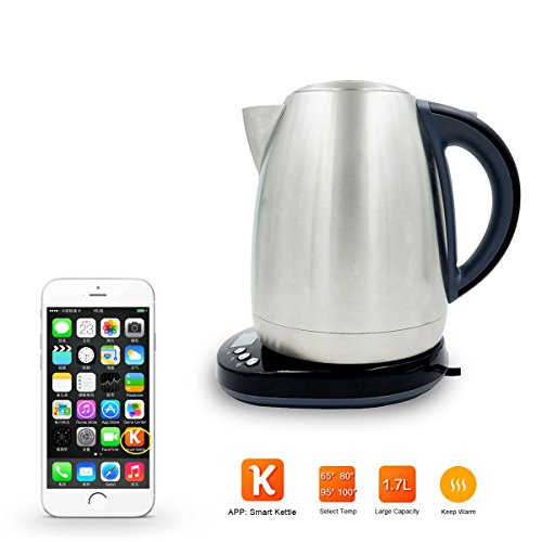 AIMOX Smart Wifi Stainless Steel Electric Kettle through Smartphone Remote On/Off Switch and Temperature Control,1.7 Liter Teakettles Ikettle