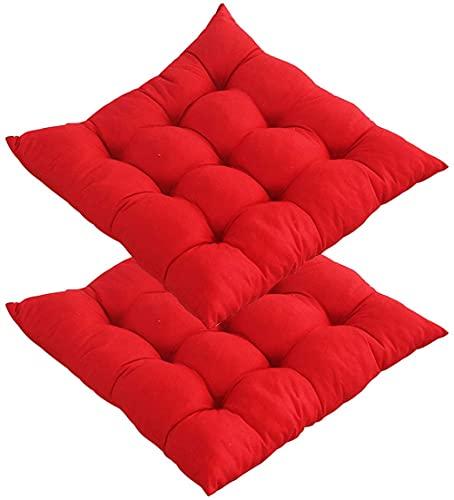 Juego de 2 cojines para silla de jardín, para exteriores, cuadrados, suaves, transpirables, para comedor, sala de estar, cocina, oficina, 40 x 40 cm, color rojo