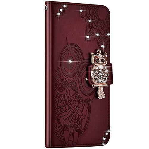 NSSTAR kompatibel mit Galaxy S20 Hülle Leder Ledertasche Flip Case Schutzhülle Diamant Owl geprägte Ledertasche mit Lanyard Handyhülle Schutz Handytasche kratzfest stoßfest,Braun