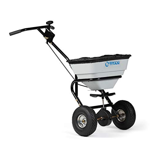 Titan Attachments 70 LB Professional Fertilizer Push Broadcast Spreader, Spreads 10 to 12 FT, Lawn Care and Ice Melter,