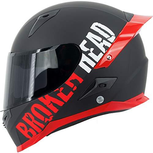 Broken Head BeProud Pro Rot - Motorradhelm Mit Spoiler & Schwarzem Zusatz-Visier, Limited Edition - Gr. S (55-56 cm)