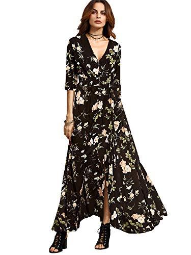 Milumia Women's Button Up Split Floral Print Flowy Party Maxi Dress Black Large