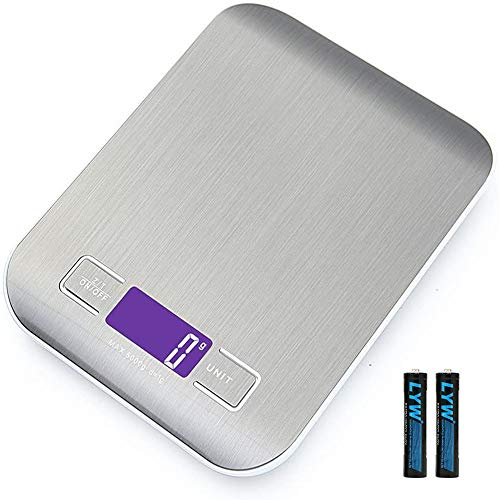 Smart Digital Küchenwaage mit LCD-Display, 5 kg/11 lbs, multifunktionale Lebensmittelwaage, hohe Präzision bis zu 1 g, Tara-Funktion (mit 2 Batterien)