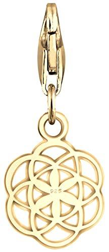Nenalina Blume des Lebens Charm vergoldet aus 925 Sterling Silber für Damen, passend für alle gängigen Charmträger und Bettelarmband, Farbe Gold, 0403220419