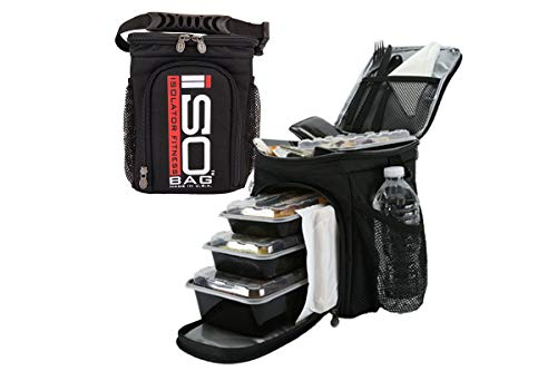Meal Prep Bag ISOCUBE 3 Meal Insulated Lunch Bag Cooler with 6 Stackable Meal Prep Containers, 2 ISOBRICKS, and 1 Shoulder Strap - MADE IN USA (Black/Red Logo)