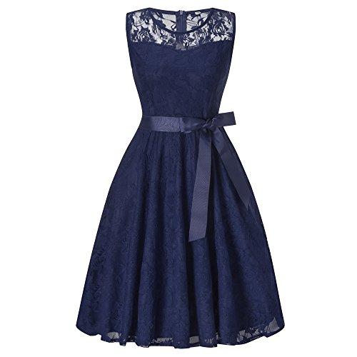 Vintage Vestito Mini Vestiti Donna Senza Maniche di Tulle Abito Eleganti Corti da Cermonia Pizzo Sera Blu