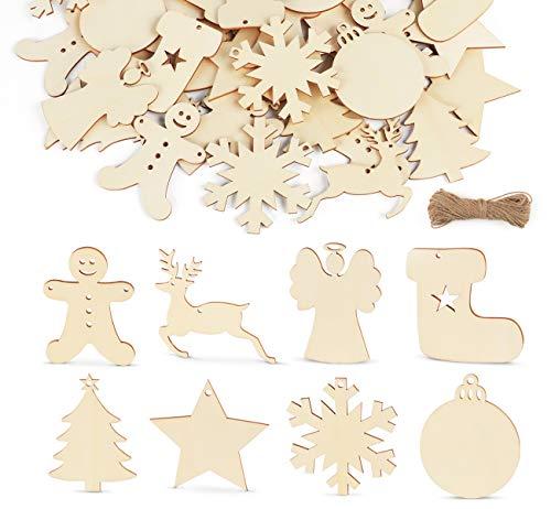 Sweelov 64-TLG holzscheiben Weihnachts Holz-Anhänger Holz Log Scheiben Schneeflocke Lebkuchenmann Engel Anhänger für Verzierungen Weihnachtsbaum DIY Handwerk Dekoration