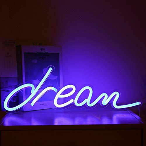 ANDUCKUK Dream Neon Signs Wandleuchte, batteriebetrieben, Neonschilder, LED-Licht, Partyzubehör, Kinderzimmer-Dekoration, LED-Neon-Lichtschild für Zimmer-Wanddekoration