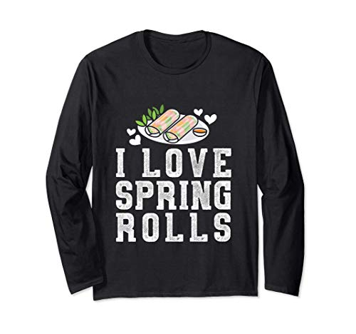 Involtini primavera I Love Spring Roll Maker Asian Food Love Maglia a Manica