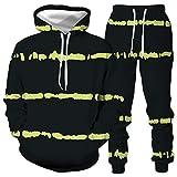 DREAMING-Traje de pareja de otoño e invierno Impresión 3D Pullover de manga larga Top + pantalones de pierna traje con capucha suéter casual S