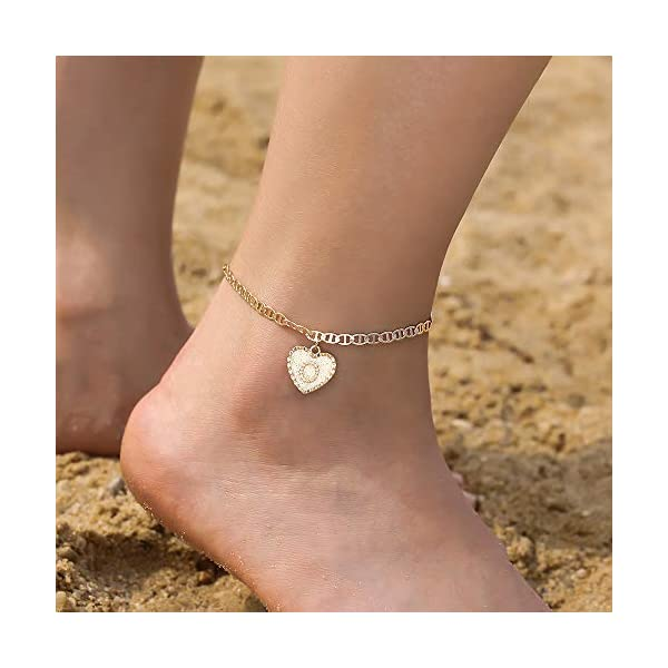 IEFSHINY Ankle Bracelets for Women Initial Anklet, Mariner Chain Letter Anklet with Initials Cute Summer Anklets Gold Anklets Bracelets for Women Girls