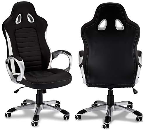 Preisvergleich Produktbild Ibbe Design Ergonomisch Schwarz Kunstleder Bürostuhl Schreibtischstuhl Speedy mit Armlehne,  Höhenverstellbar,  Drehstuhl,  Belastbar 150kg,  L70xB66xH130cm