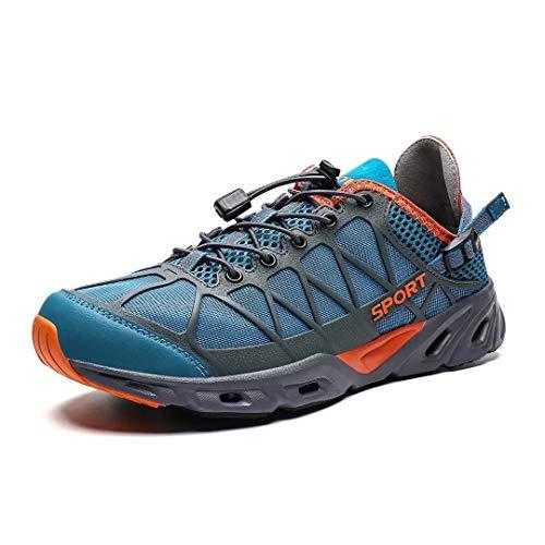 KEEZMZ Mens Womens Quick Drying Aqua Water Shoes for Sports Walking Outdoor Running Hiking Beach Swim Surf Diving Boating Fishing Dark/Blue45