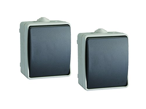 2er-Set Aufputz-Schalter / Feuchtraum Wechselschalter für den Außen- oder Innenbereich
