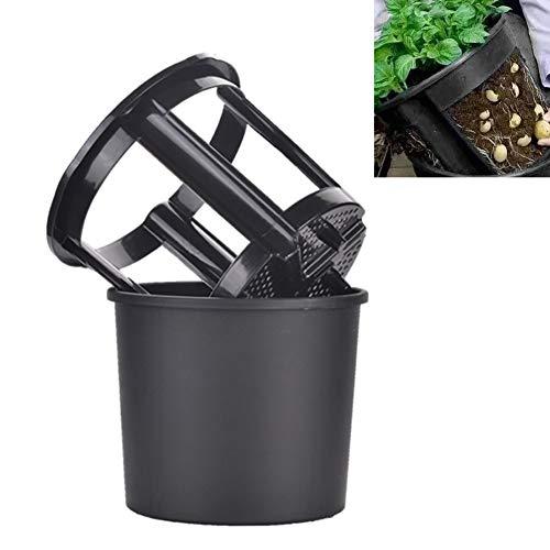 Kinnart Maceta impermeable para plantar patatas, ecológica, 2 en 1, maceta de plástico para jardín, verduras, flores, hierbas, maceta, taro, patata, color negro