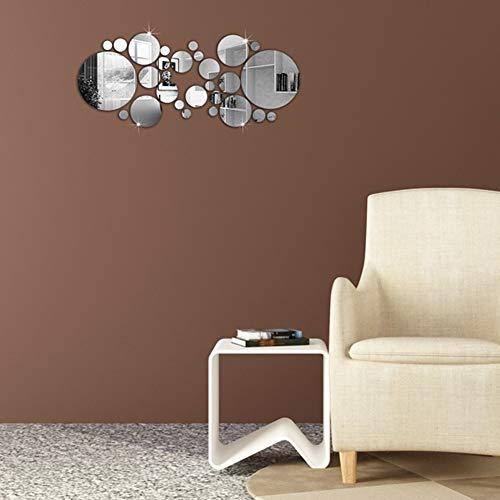 Set de 32 pegatinas redondas para pared o espejo, color plateado