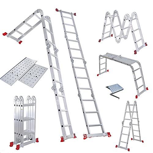 WXYI Escaleras Plegables Multiusos, Aluminio (4 Pliegues × 4 escalones) Extensión de Escalera telescópica Escalera pequeña Gigante telescópica Plegable Capacidad de 330 Libras