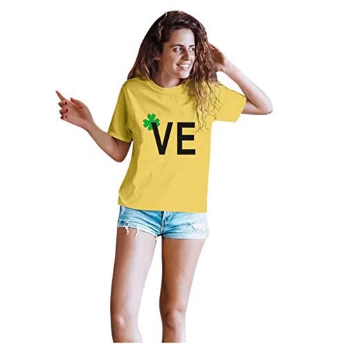 Dasongff T-shirt Klee Partner Look Paar T-shirt St. Patricks Day korte mouwen kostuum basic casual thee bovenstuk top blouses X-Large geel/dames.