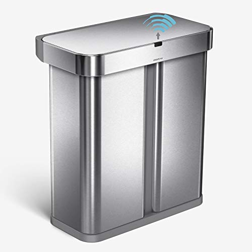 simplehuman ST2036 58L (34/24) Rectangular Recycling Sensor Bin with Voice And Motion Control, Brushed Stainless Steel, W 57.0cm x H 64.0cm x D 33.0cm