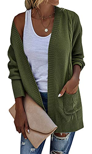 GRMO Women Hooded Pockets Outwear Knitted Basic Buttons Cardigan Sweater