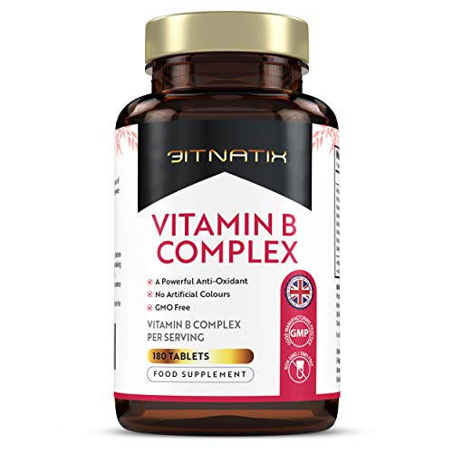 Vitamin B Complex Supplement | 180 Tablets | 6 Month Supply | Powerful Antioxidant | No Artificial Colours | GMO Free | All 8 B Vitamins Suitable for Vegetarians & Vegans - Made in UK