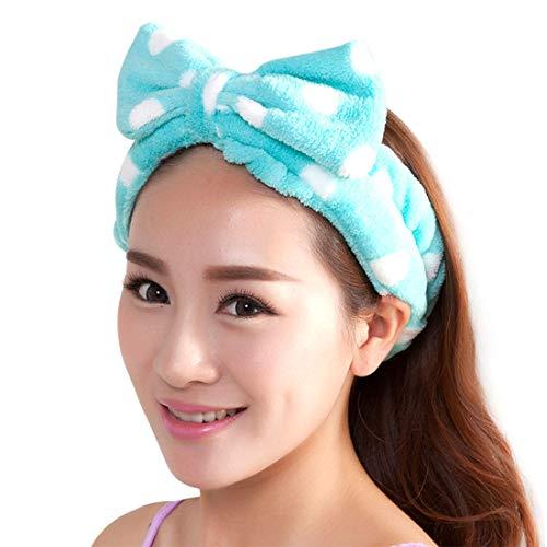 Demarkt Bowknot Stirnband Haarband Haarschmuck Haar Wrap für Make-up Gesichtsreinigung Gesichtspflege,Blau