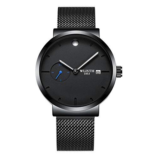 Relojes para Hombre Reloj de Cuarzo analógico Impermeable con cronógrafo para Hombre -C
