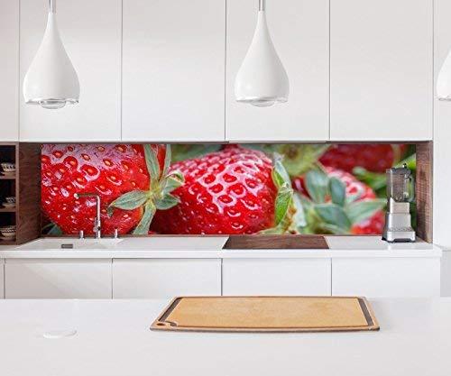 Aufkleber Küchenrückwand Erdbeere rot Beeren Küche Obst Frucht Folie selbstklebend Dekofolie Fliesen Möbelfolie Spritzschutz 22A458, Höhe x Länge:60cm x 250cm