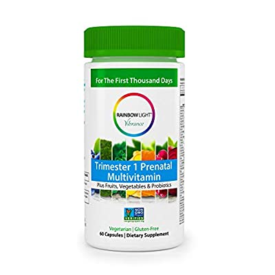 Rainbow Light Vibrance Trimester 1 Prenatal Multivitamin, 60 Count Capsules, Dietary Supplement Made with Fruits, Vegetables & Probiotics, Supports Healthy Immunity & Energy