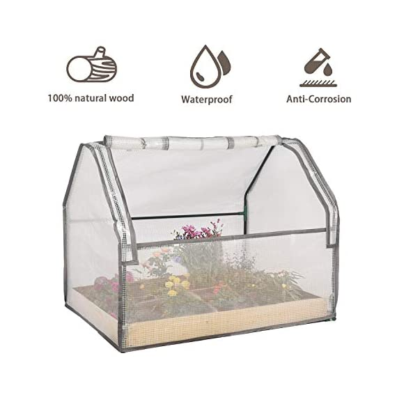 """Solid wood raised garden bed set for vegetable/flower/fruit 48"""" l×22"""" w×30"""" h box nature wood (raised garden bed) 4 material - translucent mesh-like pe cloth that prevents direct sunlight on the basis of easy observation of plant growth. The support tube is made of metal and is equipped with a plastic connection. No installation tools, easy to install and stable. Combined design - this wood raised garden bed can be combined with our other greenhouse to ensure the plant cultivation temperature throughout the greenhouse. The greenhouse and the raised garden are connected by metal buckles,the included installation tool can be easily installed. Special design - the product is equipped with a viewing port and can be opened and closed by a zipper. The product is equipped with a viewing port and can be opened and closed by a zipper. Facilitate observation of plant growth status and watering plants"""