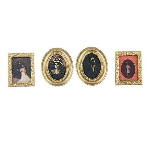 OMMO LEBEINDR Accesorios 01:12 Dollhouse de la Escala del Marco de Fotos en Miniatura casa de muñecas de la Familia Mini Muebles enmarcada Foto del Cuadro de decoración de la Pared 4pcs