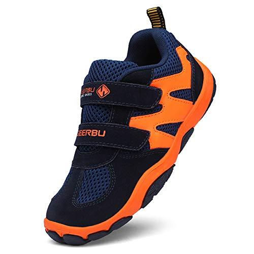 DUORO Jungen Atmungsaktiv Laufschuhe Sportschuhe Kinder Hallenschuhe Outdoor Running Schuhe Sneaker (35 EU, Orange/Schwarz)