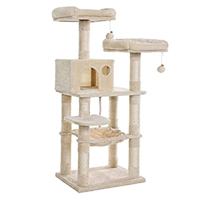FEANDREA 56.3-Inch Multi-Level Cat Tree with Sisal-Covered Scratching Posts, Plush Perches, Hammock, and Condo, Cat Tower Furniture, for Kitten, Pet, Beige UPCT015M01