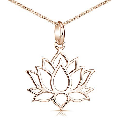MATERIA Lotusblüte Kette Rosegold - 925 Silber rose vergoldet für Damen KA-69-Rose_K53-50 cm
