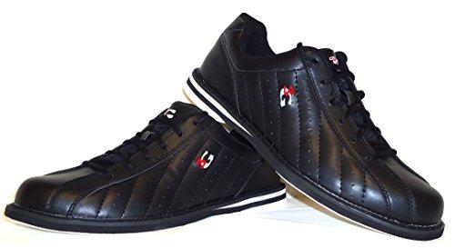 Bowling-Schuhe, 3G Kicks, Damen und Herren, für Rechts- und Linkshänder in 7 Farben Schuhgröße 36-48 (schwarz, 41.5 (US 9))