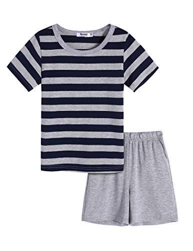 Bricnat Schlafanzug Kurz Jungen Gestreift 158 Kinder Pyjama Jungen Kurzarm Zweiteilig Nachtwäsche Jungs Shorty Baumwolle 164 Sommer