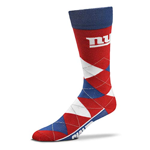 For Bare Feet - NFL Argyle Lineup Men's Crew Socks - One Size Fits Most (New York Giants)