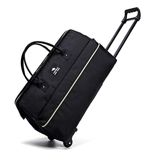 GQY Trolley suitcase - triple cloth trolley travel bag flight bag suitcase travel luggage box (Color : Black+drawbar, Size : Big)