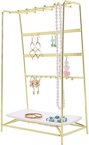 PLINRISE - Soporte organizador de joyas de 4 niveles, con bandeja para anillos, pulseras, collares, pendientes, color dorado