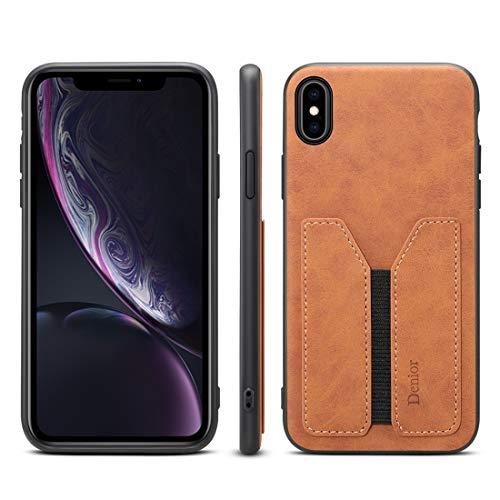 H-HX telefoonhoes beschermhoes, PU + TPU bescherming telefoonhoesje, case met kaartsleuven voor iPhone X/XS (grijs), bruin