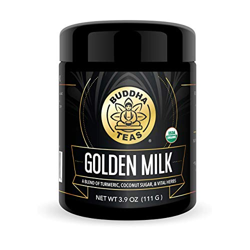Buddha Teas Organic Golden Milk Powder   Turmeric Drink   Ayurvedic Super Herbal Blend   Slightly Sweetened with Coconut Sugar   3.9 Ounces