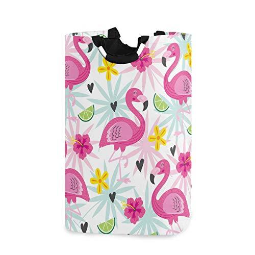 Cesto de ropa sucia con diseño de flamencos y flores tropicales, color rosa, cesta para la colada, bolsa de ropa sucia, para verano, limón, fruta, cubo plegable, cubo de lavandería, juguetes, organizador para dormitorios universitarios, dormitorios de niños, cuarto de baño